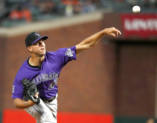 (AP Photo/Tony Avelar). Colorado Rockies starting pitcher Tyler Anderson (44) throws against the San Francisco Giants during the first inning of a baseball game in San Francisco, Friday, Sept. 14, 2018.