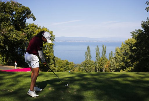 (AP Photo/Francois Mori). Mo Martin of the U.S. tees off to the 2nd hole during the third round of the Evian Championship women's golf tournament in Evian, eastern France, Saturday, Sept. 15, 2018.