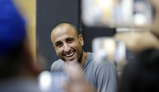 (AP Photo/Eric Gay). Former San Antonio Spurs guard Manu Ginobili talks to the media at the NBA basketball team's practice facility, Saturday, Sept. 15, 2018, in San Antonio. Ginobili recently retired at age 41 after 16 seasons with the Spurs and helpi...
