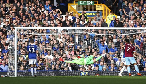 (Peter Byrne/PA via AP). Everton goalie Jordan Pickford fails to stop a shot from West Ham United's Andriy Yarmolenko, not pictured, scoring his side's second goal of the game during their English Premier League soccer match at Goodison Park in Liverpo...