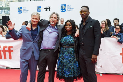 "(Christopher Katsarov/The Canadian Press via AP). Actors Viggo Mortensen, left to right, director Peter Farrelly, Octavia Spencer and Mahershala Ali pose on the red carpet before the screening of ""Green Book"" during the Toronto International Film Festi..."