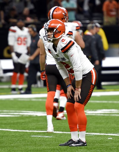 (AP Photo/Bill Feig). Cleveland Browns kicker Zane Gonzalez reacts after missing an extra point during the second half of an NFL football game against the New Orleans Saints, in New Orleans Sunday, Sept. 16, 2018.