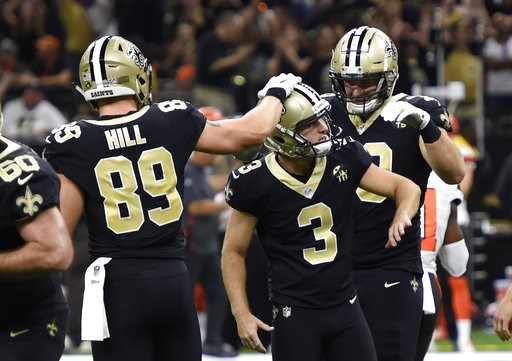 (AP Photo/Bill Feig). New Orleans Saints kicker Wil Lutz (3) is congratulated by tight end Josh Hill after kicking the game winning field goal during the second half of an NFL football game in New Orleans against the Cleveland Browns, Sunday, Sept. 16,...