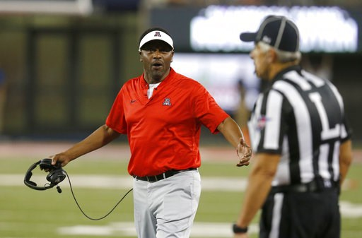 (AP Photo/Rick Scuteri). Arizona head coach Kevin Sumlin reacts to an official's call in the first half during an NCAA college football game against Southern Utah, Saturday, Sept. 15, 2018, in Tucson, Ariz.
