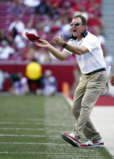 (AP Photo/Michael Woods). Arkansas coach Chad Morris reacts to a call  in the first half of an NCAA college football game against North Texas, Saturday, Sept. 15, 2018, in Fayetteville, Ark.