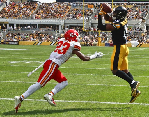 (AP Photo/Gene J. Puskar). Pittsburgh Steelers wide receiver JuJu Smith-Schuster, right, makes a catch for a touchdown in front of Kansas City Chiefs cornerback Kendall Fuller (23) in the first half of an NFL football game, Sunday, Sept. 16, 2018, in P...