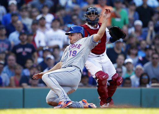 (AP Photo/Michael Dwyer). New York Mets' Jay Bruce (19) scores in front of Boston Red Sox's Christian Vazquez on a single by Amed Rosario during the seventh inning of a baseball game in Boston, Sunday, Sept. 16, 2018.
