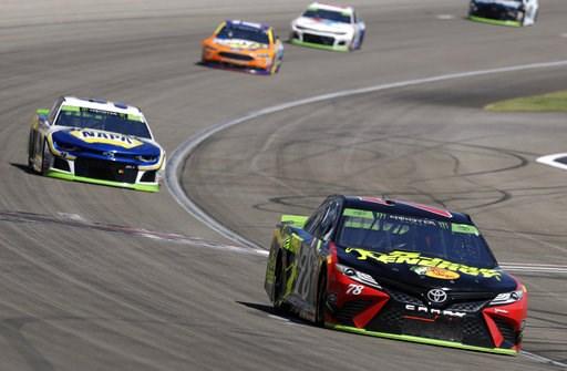 (AP Photo/Isaac Brekken). Martin Truex Jr. (78) drives during a NASCAR Cup Series auto race Sunday, Sept. 16, 2018, in Las Vegas.