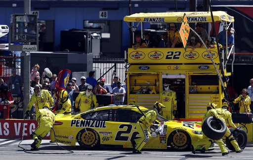 (AP Photo/Isaac Brekken). Joey Logano pits during a NASCAR Cup Series auto race Sunday, Sept. 16, 2018, in Las Vegas.