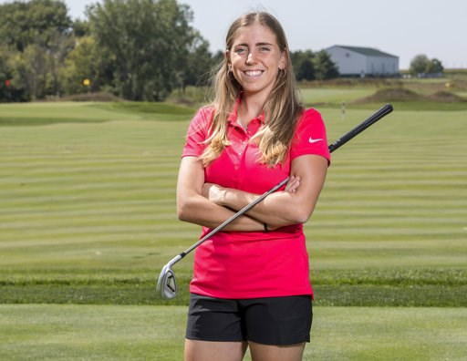 (Luke Lu/Iowa State University via AP). In this Sept. 7, 2017, photo provided by Iowa State University in Ames, Iowa, golfer Celia Barquin Arozamena poses for a photo. The former ISU golfer was found dead Monday, Sept. 17, 2018, at a golf course in Ame...