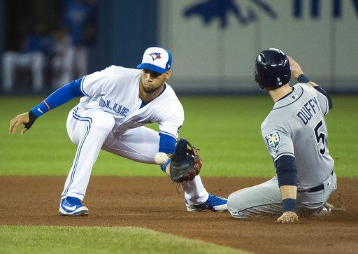 (Nathan Denette/The Canadian Press via AP). Tampa Bay Rays third baseman Matt Duffy (5) steals second base past Toronto Blue Jays shortstop Lourdes Gurriel Jr. (13) during the fourth inning of a baseball game, Thursday, Sept. 20, 2018 in Toronto.