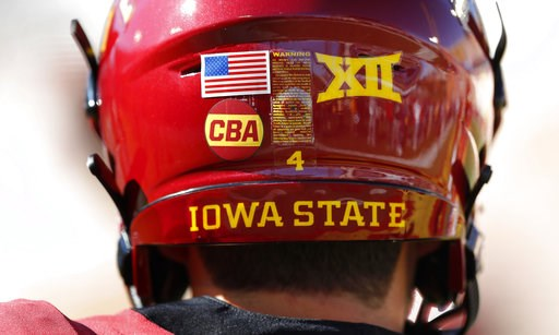 "(AP Photo/Charlie Neibergall). Iowa State quarterback Zeb Noland wears a ""CBA"" sticker on his helmet to honor slain student Celia Barquin Arozamena before an NCAA college football game against Akron, Saturday, Sept. 22, 2018, in Ames, Iowa. Barquin, wh..."