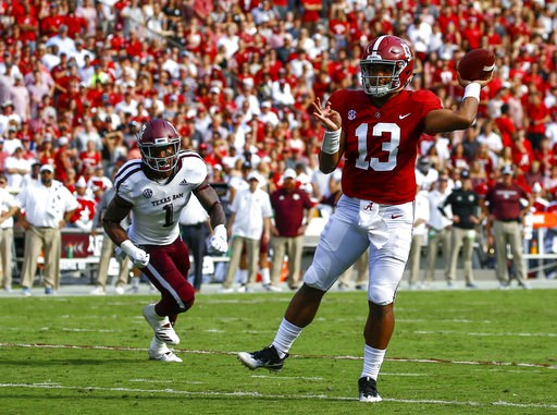 (AP Photo/Butch Dill). Alabama quarterback Tua Tagovailoa (13) throws a touchdown pass against Texas A&M during the first half of an NCAA college football game, Saturday, Sept. 22, 2018, in Tuscaloosa, Ala.