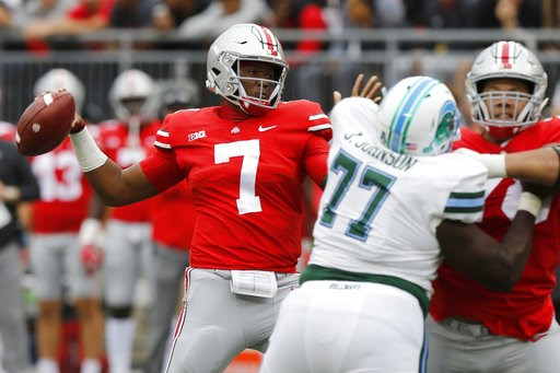 (AP Photo/Jay LaPrete). Ohio State quarterback Dwayne Haskins drops back to pass against Tulane during the first half of an NCAA college football game Saturday, Sept. 22, 2018, in Columbus, Ohio.