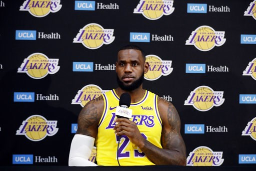 (AP Photo/Marcio Jose Sanchez). Los Angeles Lakers' LeBron James fields questions during media day at the NBA basketball team's practice facility Monday, Sept. 24, 2018, in El Segundo, Calif.