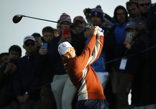 (AP Photo/Matt Dunham). Europe's Sergio Garcia plays from the 3rd tee during a fourball match on the second day of the 42nd Ryder Cup at Le Golf National in Saint-Quentin-en-Yvelines, outside Paris, France, Saturday, Sept. 29, 2018.