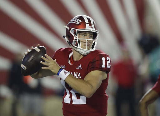 (AP Photo/Darron Cummings, File). FILE - In this Sept. 22, 2018, file photo, Indiana quarterback Peyton Ramsey (12) throws during the first half of an NCAA college football game against Michigan State, in Bloomington, Ind. Indiana's redshirt freshman P...