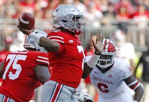 (AP Photo/Jay LaPrete). Ohio State quarterback Dwayne Haskins throws a pass against Indiana during the first half of an NCAA college football game Saturday, Oct. 6, 2018, in Columbus, Ohio.