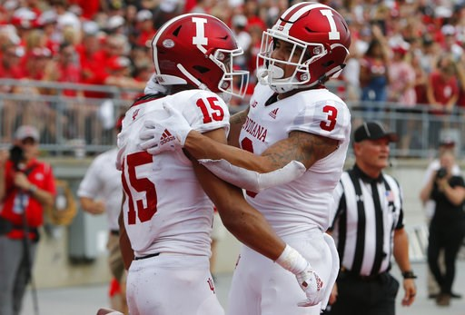 (AP Photo/Jay LaPrete). Indiana receiver Nick Westbrook, left, celebrates his touchdown against Ohio State with teammate Ty Fryfogle during the first half of an NCAA college football game Saturday, Oct. 6, 2018, in Columbus, Ohio.