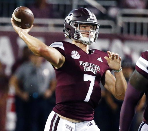 (AP Photo/Rogelio V. Solis). Mississippi State quarterback Nick Fitzgerald (7) passes against Auburn during the first half of their NCAA college football game in Starkville, Miss., Saturday, Oct. 6 2018.