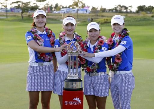 (AP Photo/Lee Jin-man). Winners on the South Korean team from left; In Gee Chun, So Yeon Ryu, In-Kyung Kim, and Sung Hyun Park pose with the trophy after winning the UL International Crown golf tournament at the Jack Nicklaus Golf Club Korea, in Incheo...