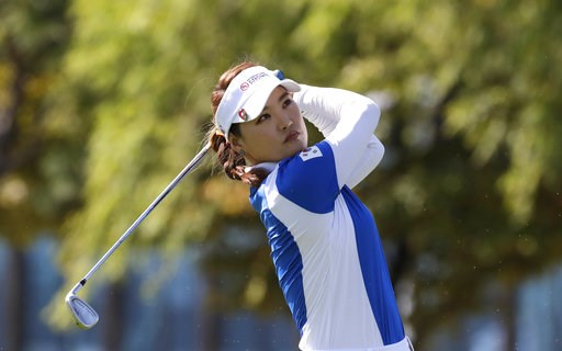 (AP Photo/Lee Jin-man). So Yeon Ryu of South Korea watches her shot on the 5th hole during the Singles match against Lexi Thompson of the United States at the UL International Crown golf tournament at the Jack Nicklaus Golf Club Korea, in Incheon, Sout...