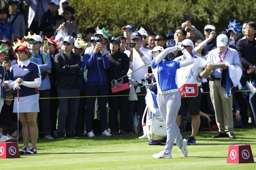 (AP Photo/Ahn Young-joon). Sung Hyun Park of South Korea watches her shot on the 6th hole during the final round of the LPGA's UL International Crown golf tournament at the Jack Nicklaus Golf Club Korea in Incheon, South Korea, Sunday, Oct. 7, 2018.