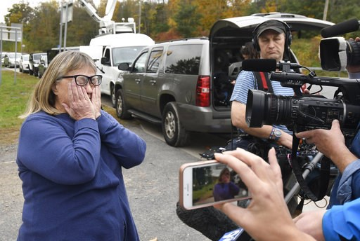 (AP Photo/Hans Pennink). Barbara Douglas of Danamora, N.Y., reacts while talking about her four family members who died in Saturday's fatal crash in Schoharie, N.Y., Sunday, Oct. 7, 2018. A limousine loaded with revelers headed to a 30th birthday party...