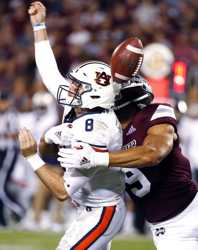 (AP Photo/Rogelio V. Solis). Mississippi State defensive end Montez Sweat (9) forces Auburn quarterback Jarrett Stidham (8) to fumble as he attempts to pass during the second half of their NCAA college football game in Starkville, Miss., Saturday, Oct....
