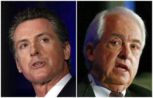(AP Photos/Rich Pedroncelli, File). FILE - This combination of March 8, 2018, photos shows California gubernatorial candidates Lt. Gov. Gavin Newsom, left, a Democrat and Republican businessman John Cox in Sacramento, Calif. Cox and Newsom is debating ...