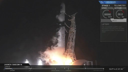 (SpaceX via AP). In this image made from video provided by SpaceX, a SpaceX Falcon 9 rocket carrying an Argentinian satellite blasts off from the Vandenberg Air Force Base launch site, about 130 miles (209 kilometers) northwest of Los Angeles on Sunday...