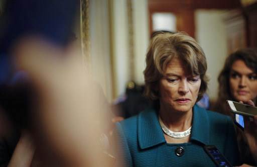 (AP Photo/Pablo Martinez Monsivais, File). File - In this Oct. 4, 2018 file photo, Sen. Lisa Murkowski, R-Alaska, pauses while speakings to members of the media after a vote to advance Brett Kavanaugh's nomination to the Supreme Court, on Capitol Hill....
