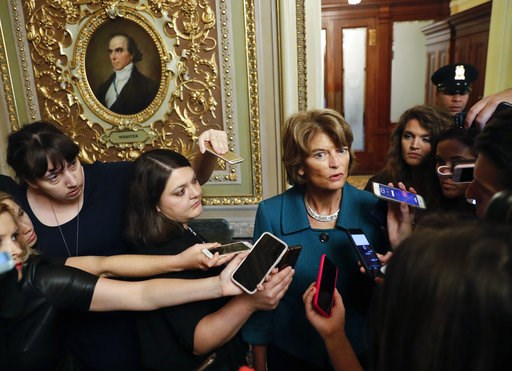 (AP Photo/Pablo Martinez Monsivais, File). File - In this Oct. 4, 2018 file photo, Sen. Lisa Murkowski, R-Alaska, speaks to members of the media after a vote to advance Brett Kavanaugh's nomination to the Supreme Court, on Capitol Hill. Alaska Republic...