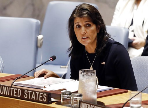 (AP Photo/Richard Drew). FILE - In this Sept. 17, 2018 file photo, U.S. Ambassador Nikki Haley addresses the United Nations Security Council at U.N. headquarters.