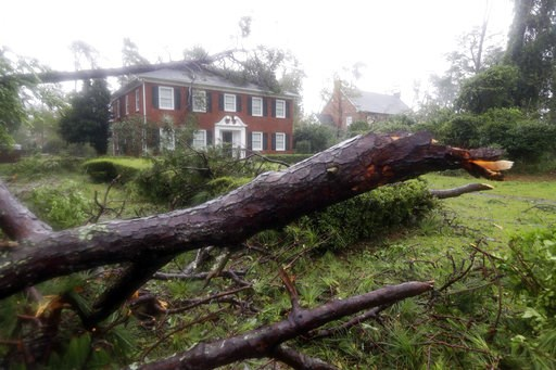 (AP Photo/Chuck Burton, File). FILE - In a Friday, Sept. 14, 2018 file photo, toppled trees land in the yard and on a home in Wilmington, N.C., after Hurricane Florence made landfall. In the storm-weary Carolinas, Hurricane Michael's approach was stoki...