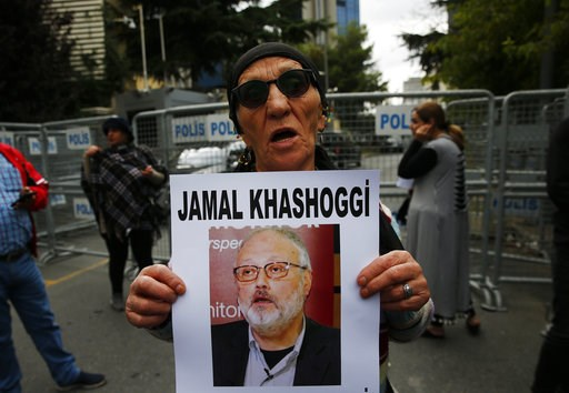 (AP Photo/Lefteris Pitarakis). An activist, member of the Human Rights Association Istanbul branch, holds a poster with a photo of missing Saudi journalist Jamal Khashoggi, during a protest in his support near the Saudi Arabia consulate in Istanbul, Tu...