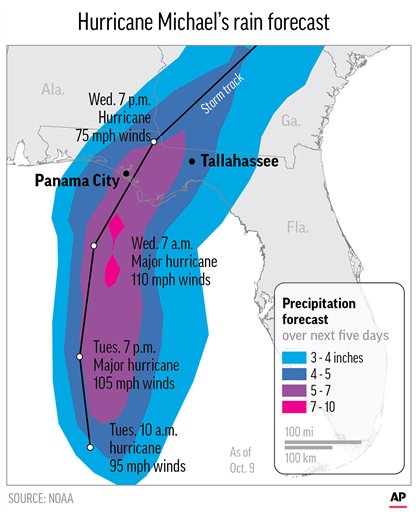 Graphic shows the predicted precipitation over the next five days caused by Hurricane Michael; 2c x 4 inches; 96.3 mm x 101 mm;