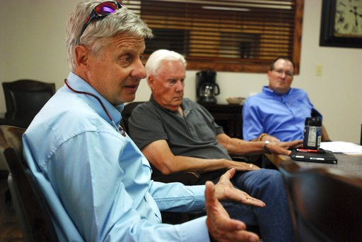 (AP Photo/Morgan Lee, File). FILE - In this Sept. 18, 2018, file photo, Libertarian U.S. Senate candidate Gary Johnson, left, talks on the campaign trail with board members of a bank, in Tucumcari, N.M. Former governor of New Mexico and two-time presid...