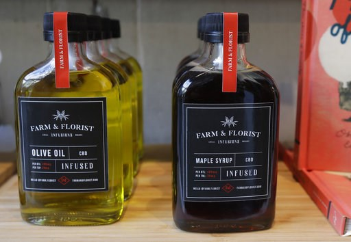 (AP Photo/Ted S. Warren). In this Sept. 25, 2018 photo, bottles of maple syrup and olive oil infused with CBD marijuana extract are displayed for sale at the Village Bloomery medical cannabis dispensary in Vancouver, British Columbia. On Oct. 17, 2018,...