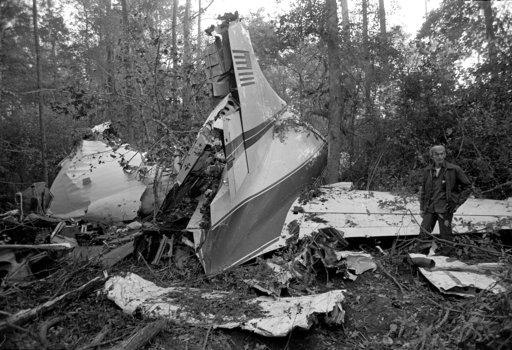 (AP Photo, File). FILE - This Oct. 20, 1977 file photo shows the wreckage of a plane in a wooded area near McComb, Miss., where six people were killed, including three members of the music group Lynyrd Skynyrd. A New York federal appeals court says a n...