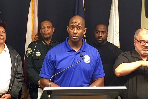 (AP Photo/Gary Fineout). Tallahassee Mayor and Democratic gubernatorial candidate Andrew Gillum, speaks during a briefing on Hurricane Michael in Tallahassee, Fla., Wednesday Oct. 10, 2018. In the days before Hurricane Michael made landfall, Gillum bla...
