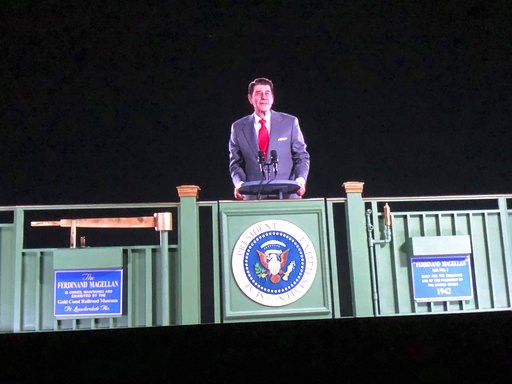 (AP Photo/Amanda Lee Myers). Former President Ronald Reagan appears on a railcar platform making a speech during a whistle stop on the campaign trail, but as a hologram, on display at the Ronald Reagan Presidential Library in Simi Valley, Calif., Wedne...