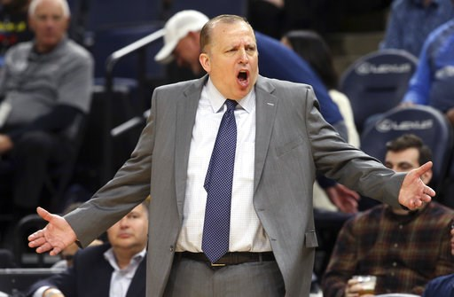 (AP Photo/Jim Mone, File). FILE - In this Oct. 5, 2018, file photo, Minnesota Timberwolves head coach Tom Thibodeau dispute a call in the second half of an NBA preseason basketball game against the Oklahoma City Thunder, in Minneapolis. With Jimmy Butl...