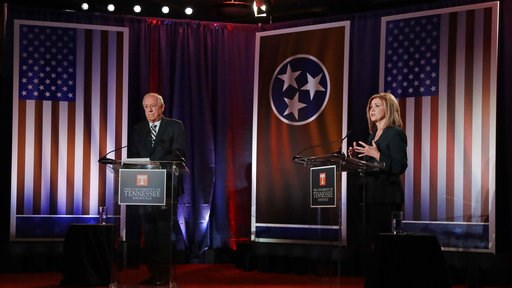 (AP Photo/Mark Humphrey, Pool). Republican U.S. Rep. Marsha Blackburn, right, speaks during the 2018 Tennessee U.S. Senate Debate with Democratic candidate and former Gov. Phil Bredesen at The University of Tennessee Wednesday, Oct. 10, 2018, in in Kno...