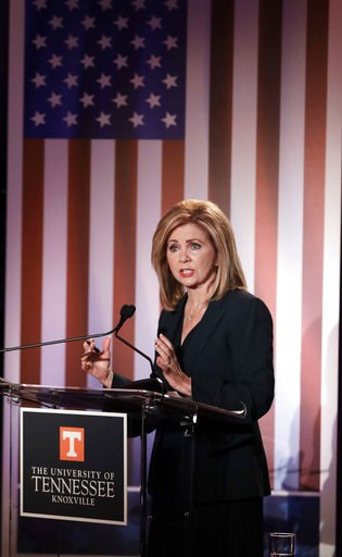 (AP Photo/Mark Humphrey, Pool). Republican U.S. Rep. Marsha Blackburn speaks during the 2018 Tennessee U.S. Senate Debate at The University of Tennessee Wednesday, Oct. 10, 2018, in Knoxville, Tenn.