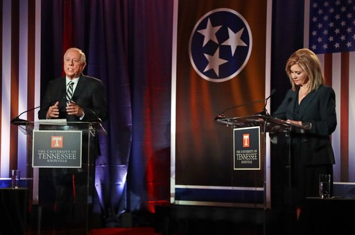 (AP Photo/Mark Humphrey, Pool). Democratic candidate and former Gov. Phil Bredesen, left, speaks during the 2018 Tennessee U.S. Senate Debate with Republican U.S. Rep. Marsha Blackburn at The University of Tennessee Wednesday, Oct. 10, 2018, in in Knox...