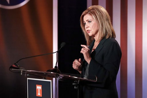 (AP Photo/Mark Humphrey, Pool). Republican U.S. Rep. Marsha Blackburn speaks during the 2018 Tennessee U.S. Senate Debate at The University of Tennessee Wednesday, Oct. 10, 2018, in in Knoxville, Tenn.