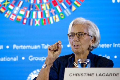(AP Photo/Firdia Lisnawati). Managing Director of International Monetary Fund (IMF) Christine Lagarde talks during a press conference ahead of the annual meetings of the IMF and World Bank  in Bali, Indonesia on Thursday, Oct. 11, 2018.