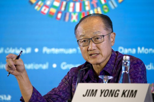 (AP Photo/Firdia Lisnawati). World Bank President Jim Yong Kim speaks during a press conference ahead of the annual meetings of the IMF and World Bank in Bali, Indonesia Thursday, Oct. 11, 2018.