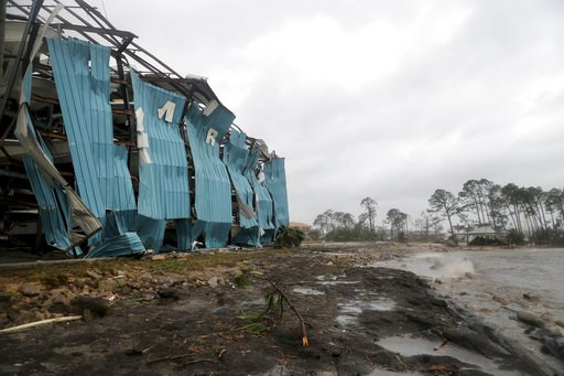 (Douglas R. Clifford/Tampa Bay Times via AP). A marina warehouse is damaged at the Port St. Joe Marina, Wednesday, Oct. 10, 2018 in Port St. Joe, Fla. Supercharged by abnormally warm waters in the Gulf of Mexico, Hurricane Michael slammed into the Flor...